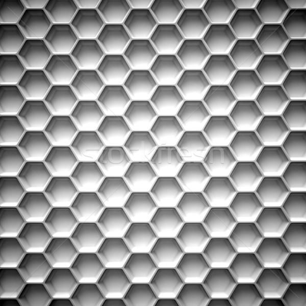 Czarno białe plaster miodu streszczenie 3D 3d ilustracji odizolowany Zdjęcia stock © djmilic