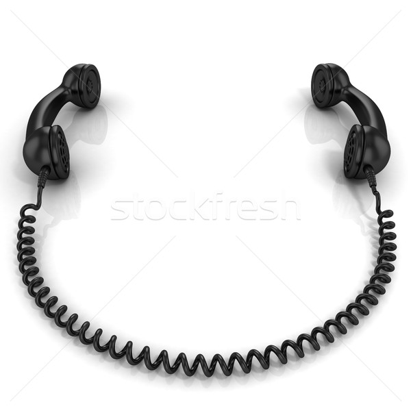 Black old fashion phone handsets connected Stock photo © djmilic