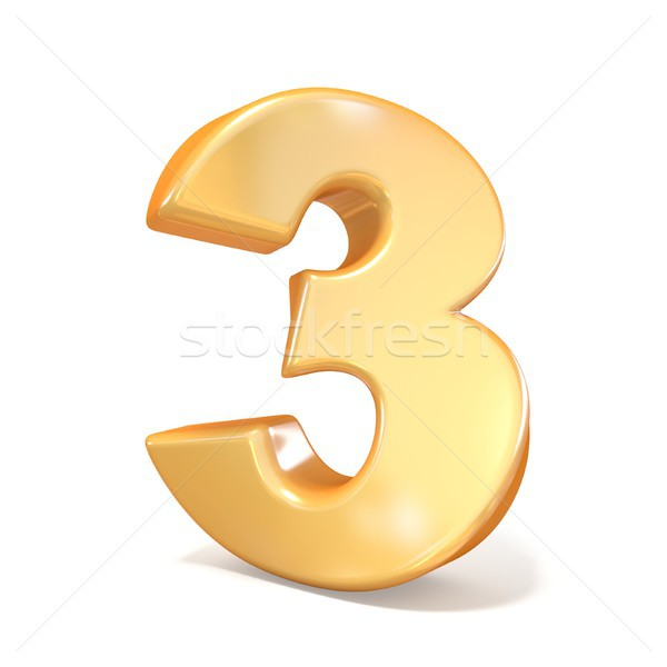 Orange twisted font number THREE 3 3D Stock photo © djmilic