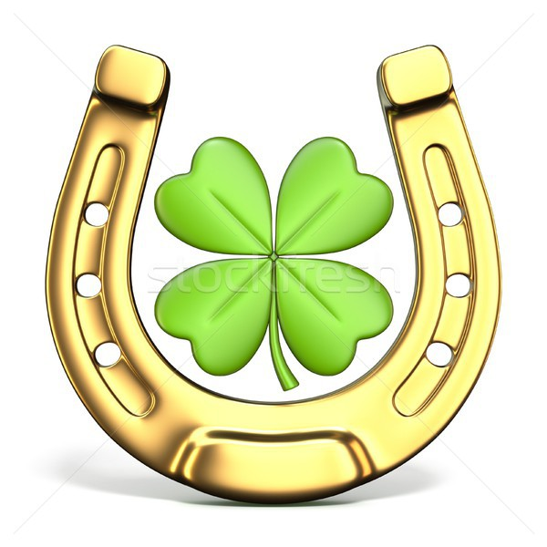 Lucky symbols horse-shoe and four-leaf clover Front view 3D Stock photo © djmilic