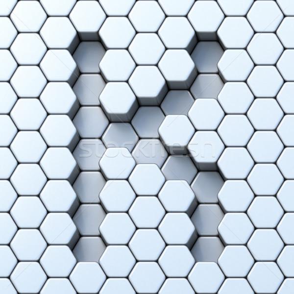 Hexagonal grid letter K 3D Stock photo © djmilic