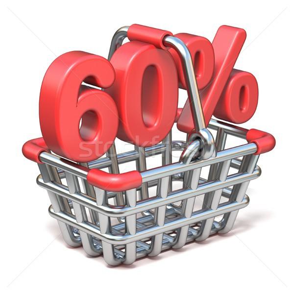 Fém bevásárlókosár 60 százalék felirat 3D Stock fotó © djmilic