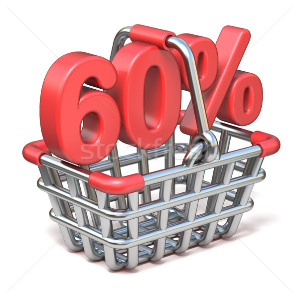 Metal shopping basket 60 PERCENT sign 3D Stock photo © djmilic