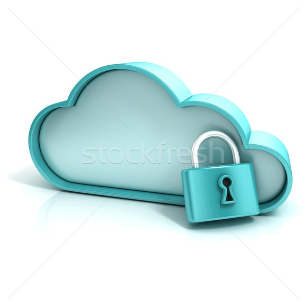 Cloud lock 3D computer icon Stock photo © djmilic