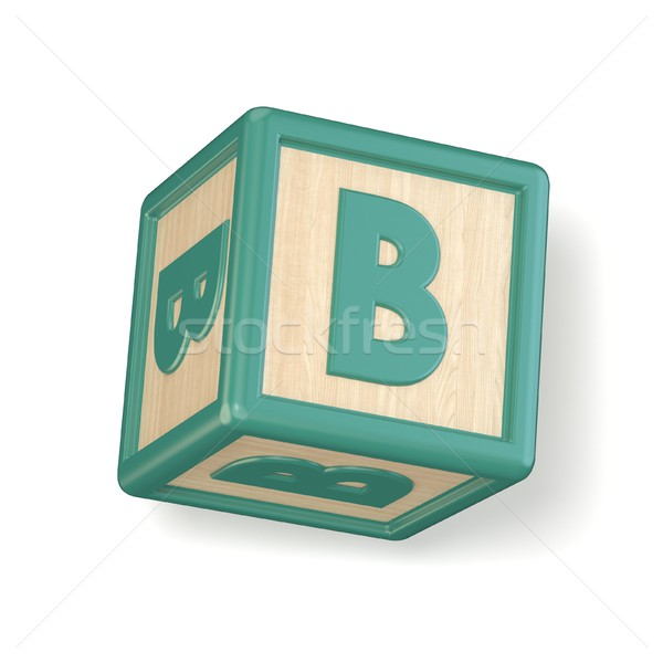 Letter B wooden alphabet blocks font rotated. 3D Stock photo © djmilic