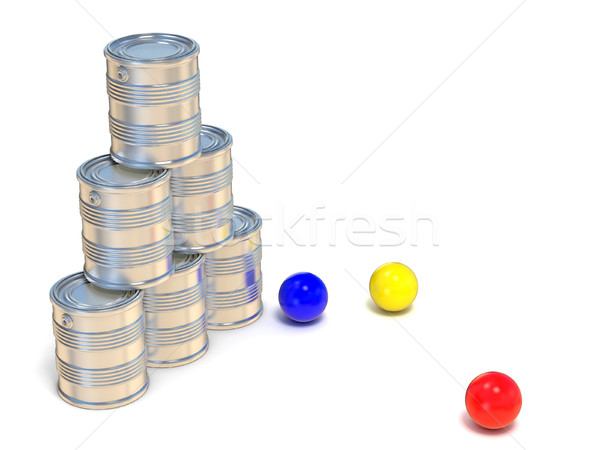 Tin cans and three balls. Side view. 3D Stock photo © djmilic