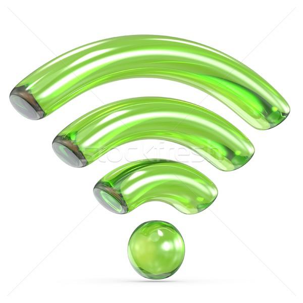 Trasparente verde wifi segno 3D rendering 3d Foto d'archivio © djmilic