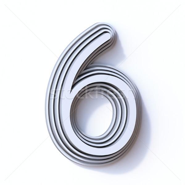 три шаги шрифт числа шесть 3D Сток-фото © djmilic
