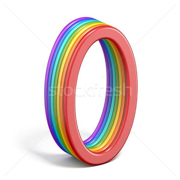 Rainbow carattere numero pari a zero 3D Foto d'archivio © djmilic