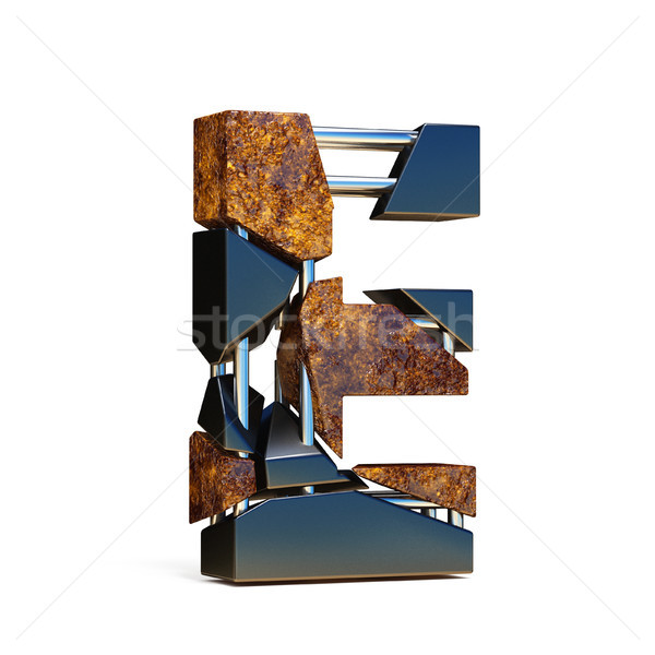 Black brown fracture font LETTER E 3D Stock photo © djmilic
