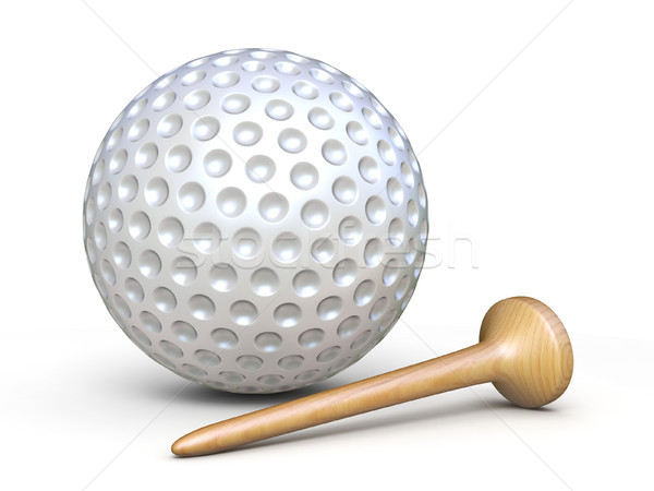 Golf ball with wooden tee 3D rendering illustration Stock photo © djmilic