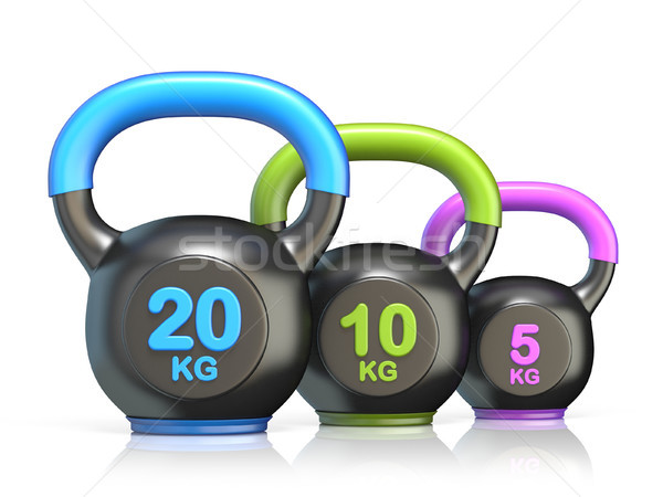 Three kettle bells 3D render illustration Stock photo © djmilic