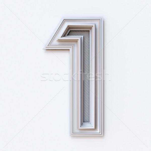 White picture frame font Number 1 ONE 3D Stock photo © djmilic