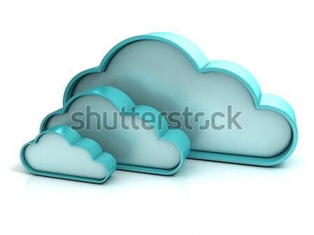 Felhők 3D számítógép ikon izolált iroda internet Stock fotó © djmilic