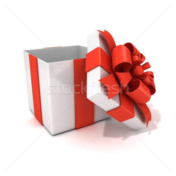Open, empty, white gift box with red ribbon, 3D Stock photo © djmilic