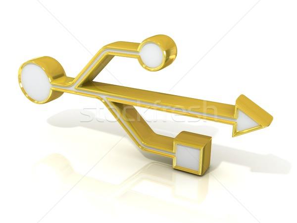 USB 3d golden sign Stock photo © djmilic