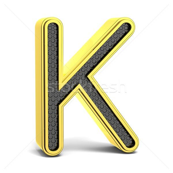 Golden and black round alphabet. Letter K. 3D Stock photo © djmilic