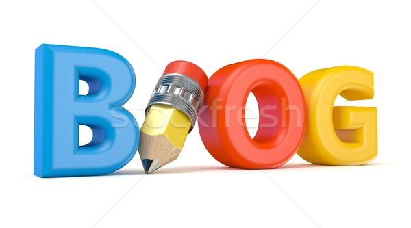 Szó blog rajz ceruza 3D renderelt kép Stock fotó © djmilic