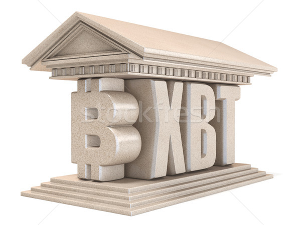 Bitcoin XBT currency sign temple 3D Stock photo © djmilic