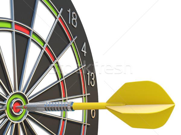 Közelkép citromsárga darts nyíl központ darts tábla Stock fotó © djmilic