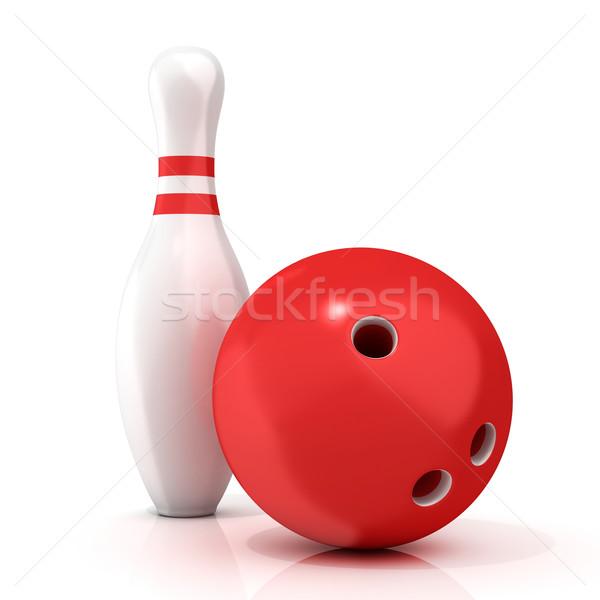 Bowling topu pin kırmızı 3D yalıtılmış Stok fotoğraf © djmilic
