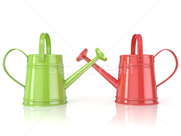 Two green and red 3D renders watering can Stock photo © djmilic