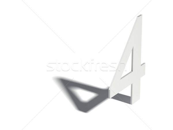 Caída sombra dígito número cuatro 3D Foto stock © djmilic