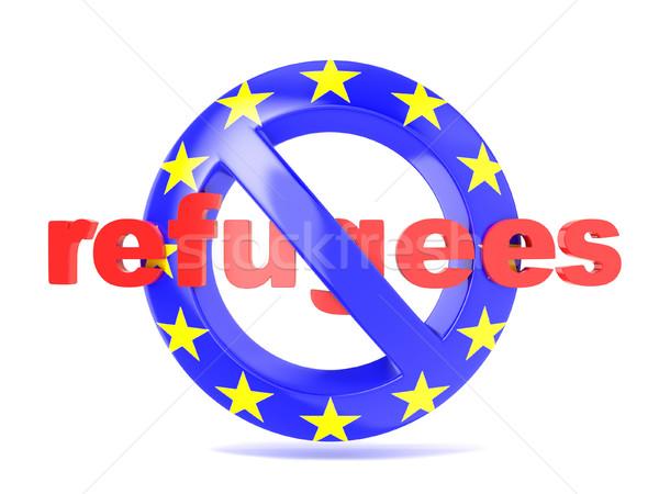 Tilos felirat EU zászló válság 3d render Stock fotó © djmilic