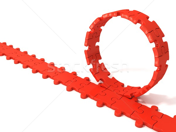 Red puzzle ring rotating over puzzle chain Stock photo © djmilic