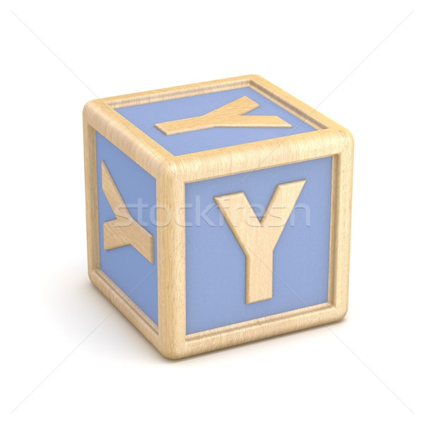 Letter Y wooden alphabet blocks font rotated. 3D Stock photo © djmilic