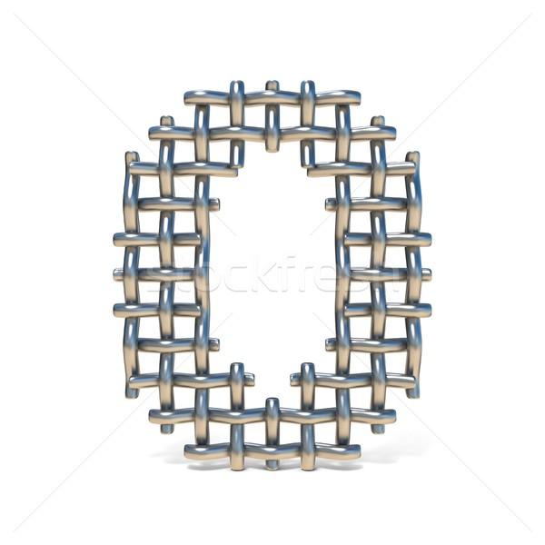 Metal wire mesh font Number 0 ZERO 3D Stock photo © djmilic