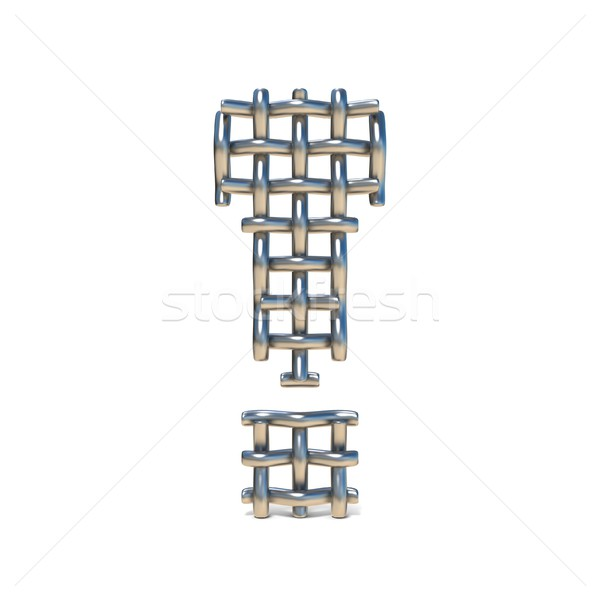 Metal wire mesh font EXCLAMATION MARK 3D Stock photo © djmilic