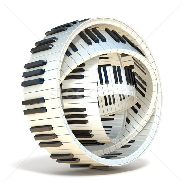 ストックフォト: 抽象的な · ピアノのキー · 3D · 3dのレンダリング · 実例 · 孤立した