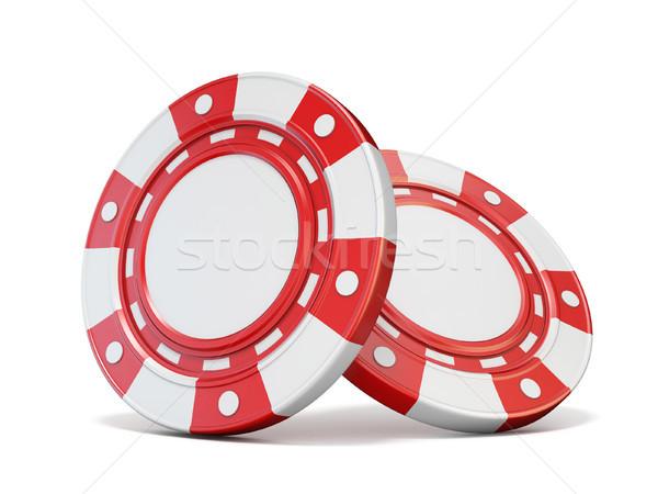 Due rosso gioco d'azzardo chip 3D rendering 3d Foto d'archivio © djmilic