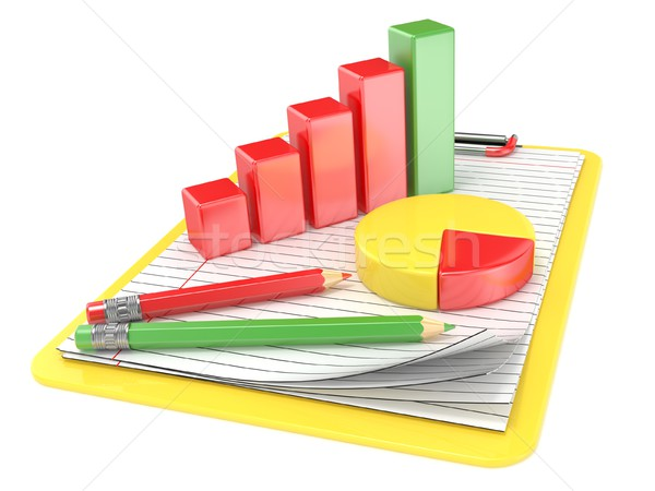 Yellow clipboard, paper, pencils and charts. 3D Stock photo © djmilic