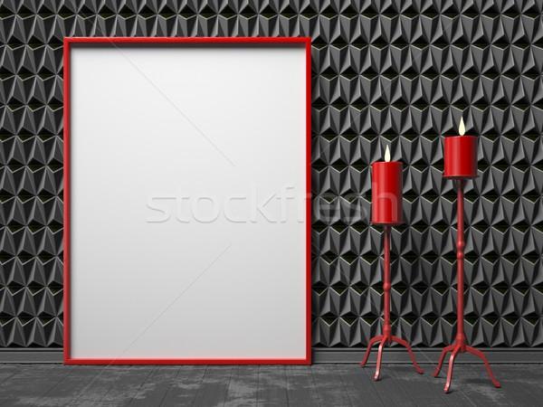 Ramki obrazu dwa czerwony świecznik czarny w górę Zdjęcia stock © djmilic