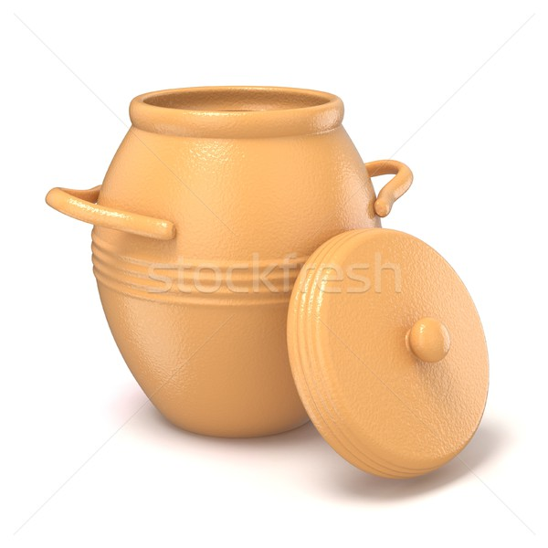 Opened clay pot with lid. 3D Stock photo © djmilic