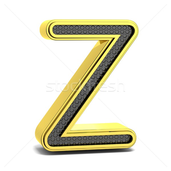 Golden and black round alphabet. Letter Z. 3D Stock photo © djmilic