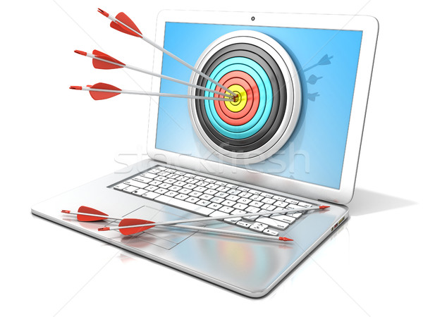 Laptop with archery target and red arrows in the center. 3D Stock photo © djmilic