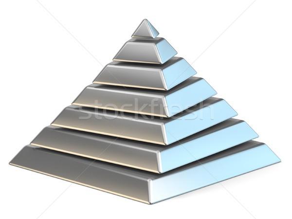 Acciaio piramide sette 3D rendering 3d illustrazione Foto d'archivio © djmilic
