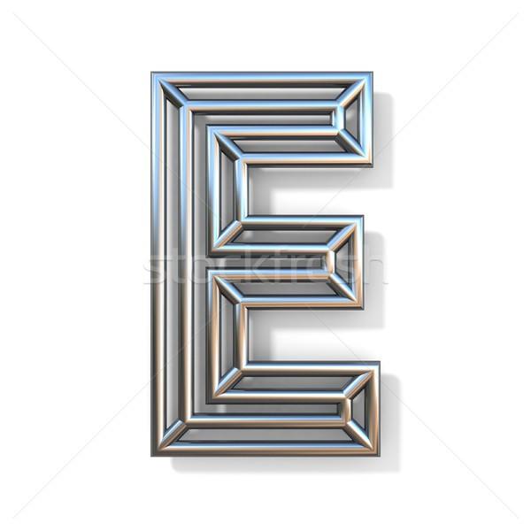 Stock fotó: Drót · skicc · betűtípus · e · betű · 3D · renderelt · kép