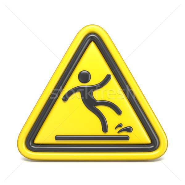 Wet floor sign yellow triangle with falling man 3D Stock photo © djmilic