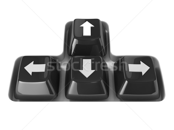 Stock photo: The four black keyboard arrows keys on a white background. Front