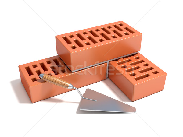 Concept of building the brick wall, made of bricks with rectangu Stock photo © djmilic