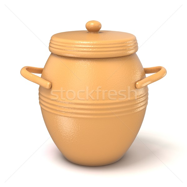 Clay pot with lid. 3D Stock photo © djmilic