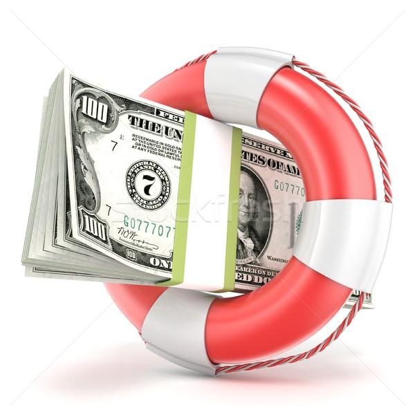 Reddingsboei dollar bankbiljet 3D 3d render illustratie Stockfoto © djmilic