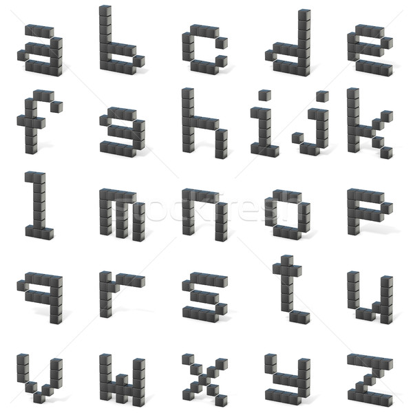 8 bit font. Lowercase letters ALL. 3D Stock photo © djmilic