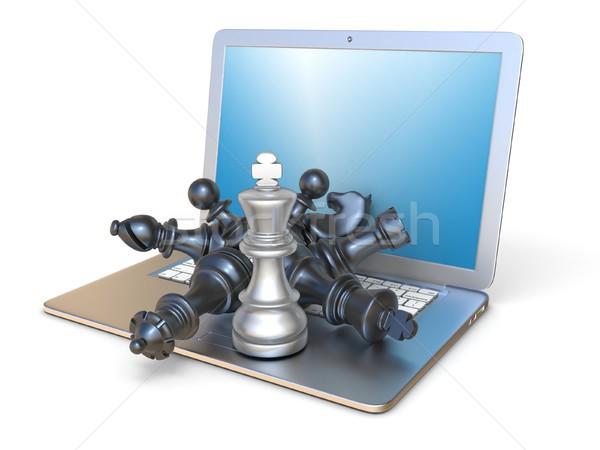 Sakkfigurák nyitva laptop oldalnézet 3D 3d render Stock fotó © djmilic