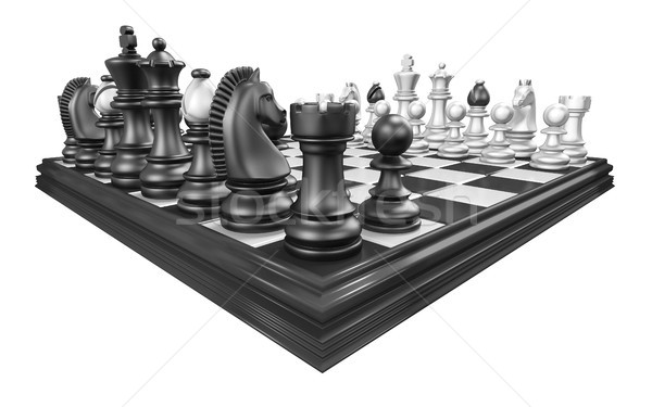 Chess board with all chess pieces 3D Stock photo © djmilic