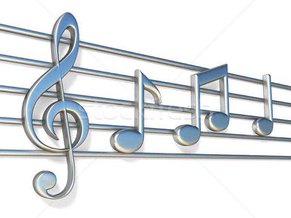 Stock photo: Music notes on staff lines 3D